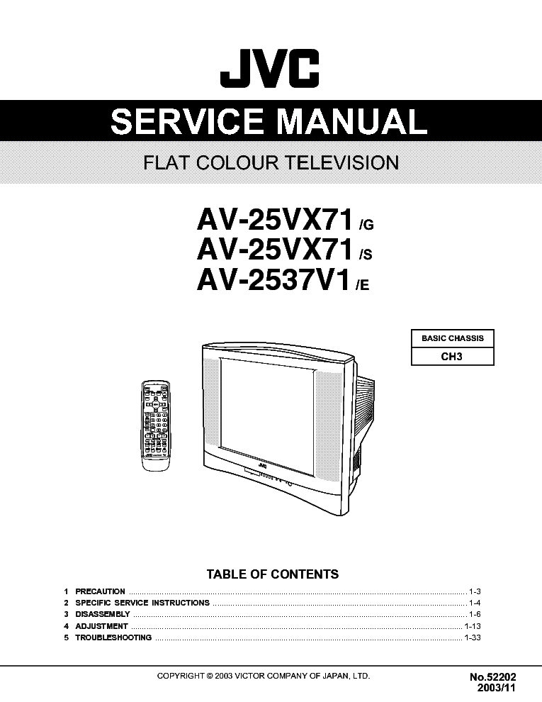 JVC CH3 CHASSIS AV-25VX71 service manual (2nd page)