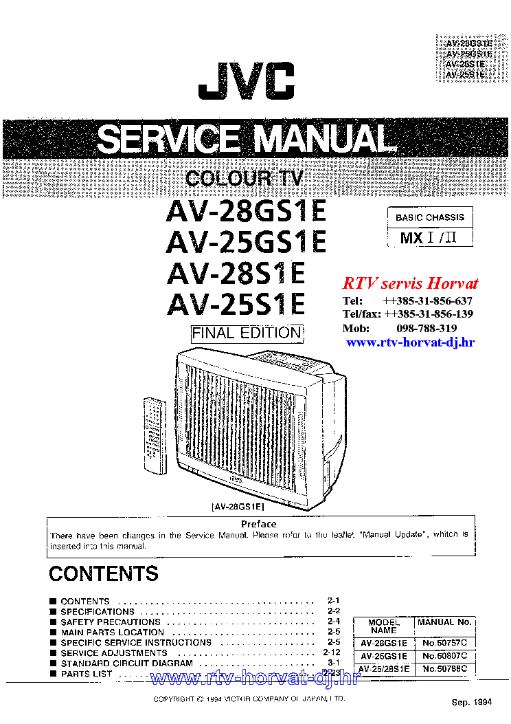 JVC CHASSIS MX1 AV28S1 service manual (1st page)