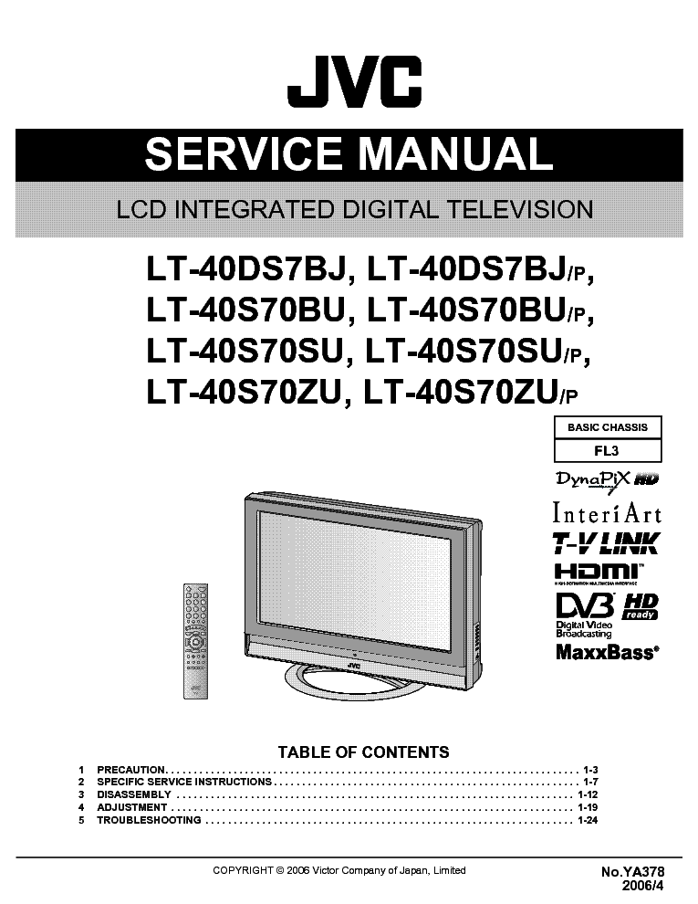 JVC FL3 CHASSIS LT40DS7BJ LCD TV service manual (1st page)