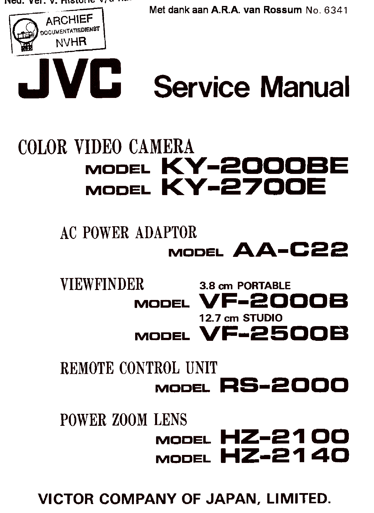 JVC KY-2000BE 2700EVF-2000 2500-B RS-2000 HZ-2100 2140 COLOR