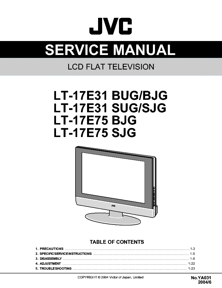 JVC LT17E31BUG LCD TV service manual