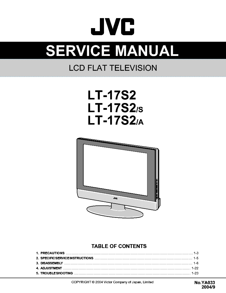 JVC LT17S2 LCD TV service manual