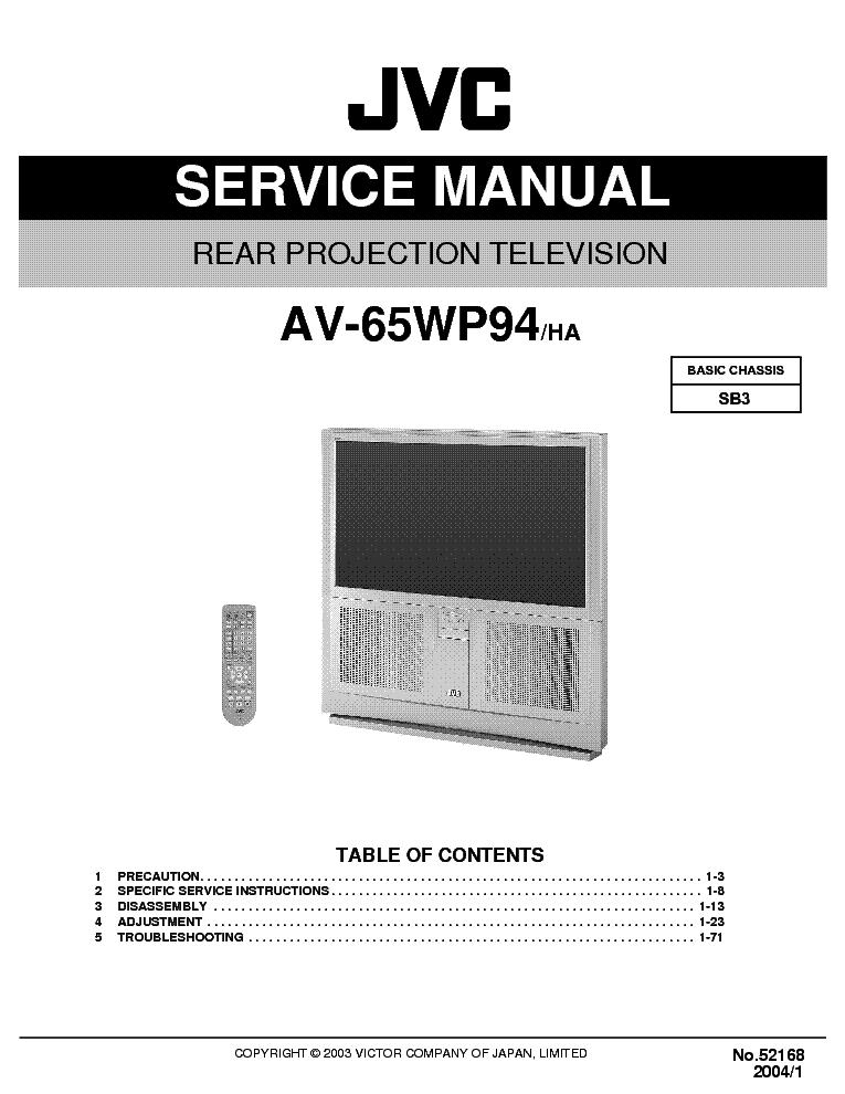jvc sb3 chassis av65wp94 projection tv sm only service. Black Bedroom Furniture Sets. Home Design Ideas