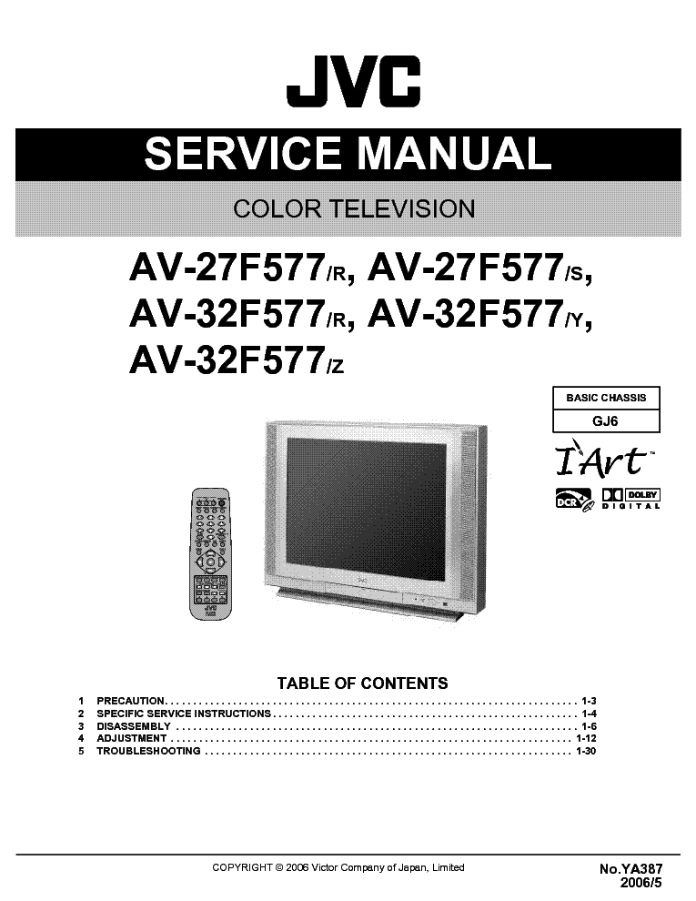 jvc tv av 27f577 32f577 service manual download schematics eeprom rh elektrotanya com JVC Rear Projection TV Manual 6 183 JVC TV ManualsOnline