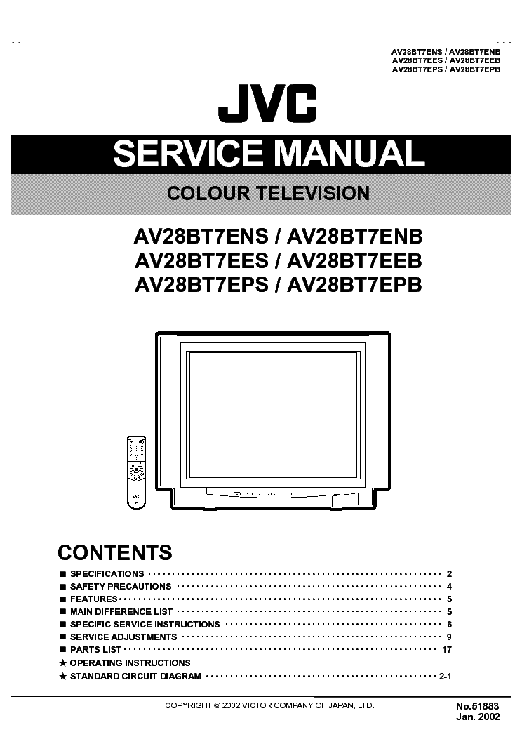 Jvc Tv Av28bt7e Service Manual Download  Schematics
