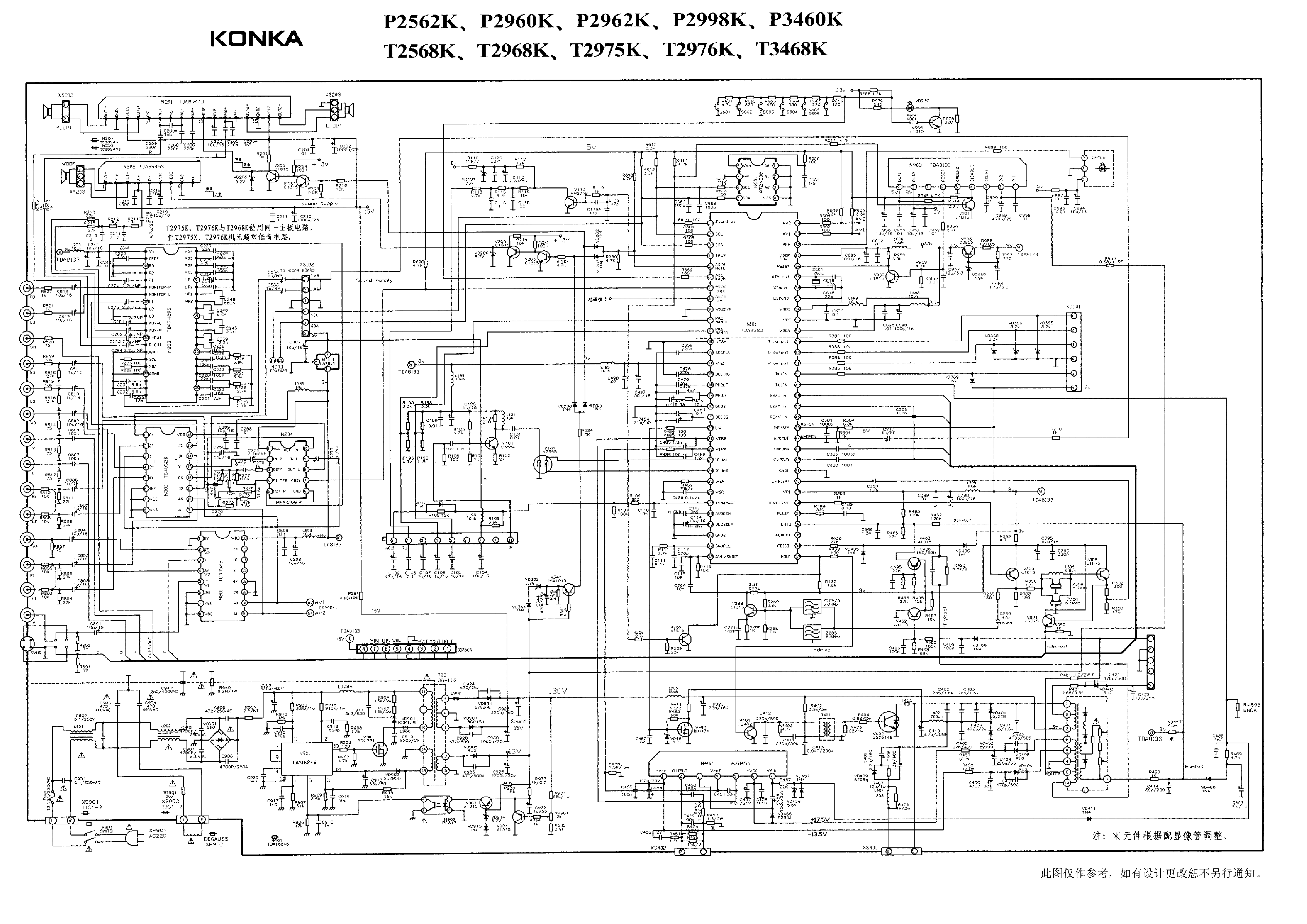 konka schematic diagrams t2568k