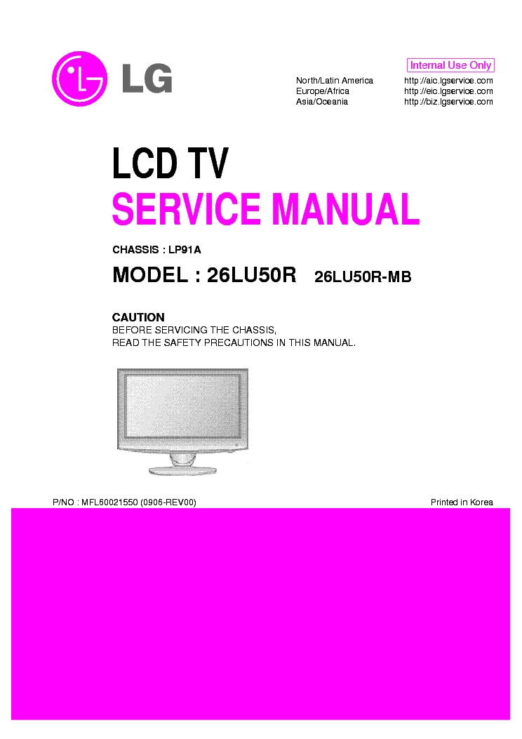LG 26LU50R-MB CHASSIS LP91A SM service manual (1st page)