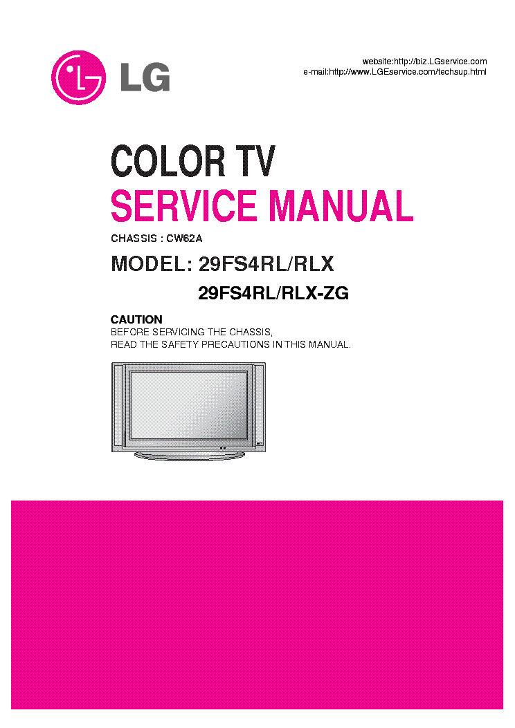 LG 29FS4RL CHASSIS CW62A service manual (1st page)