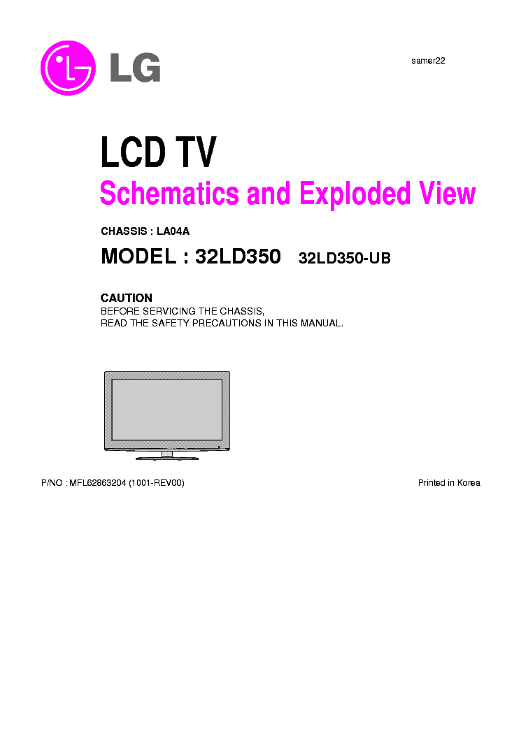 lg 32ld350 ub chassis la04a exploded sch service manual download rh elektrotanya com Wall Mount LG 32LD350 Model Back View LG 32LD350 TV