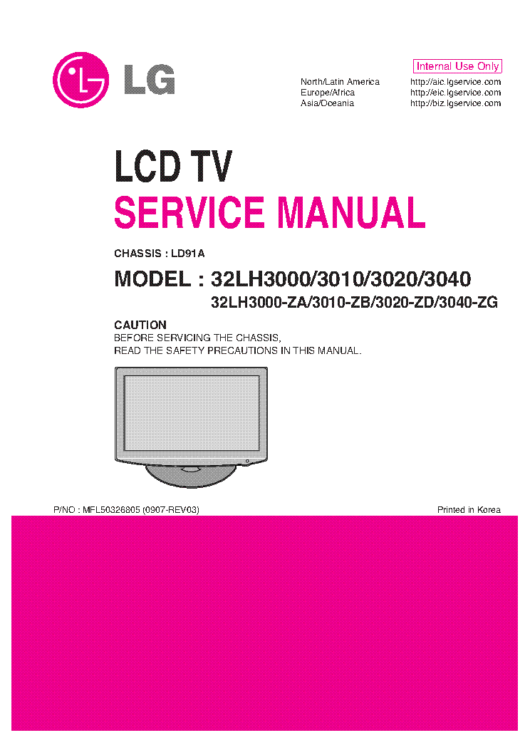Lg 32lh3000 Za Lh3010 Zb Lh3020 Zd Lh3040 Zg Chassis Ld91a Mfl50326805 0907 Rev03 Service Manual Download Schematics Eeprom Repair Info For Electronics Experts