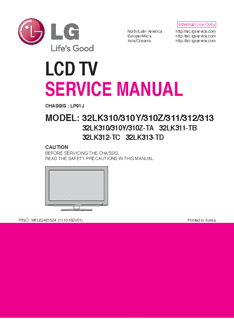 LG 32LK310-310Y-310Z-311-312-313 CHASSIS LP91J MFL62461524 1110-REV01 service manual