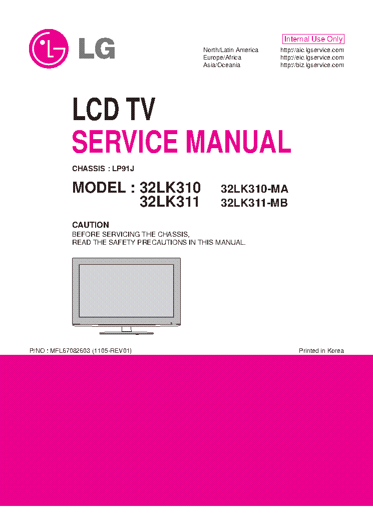 LG 32LK310-MA 32LK311-MB CHASSIS LP91J MFL67082603 1105-REV01 service manual