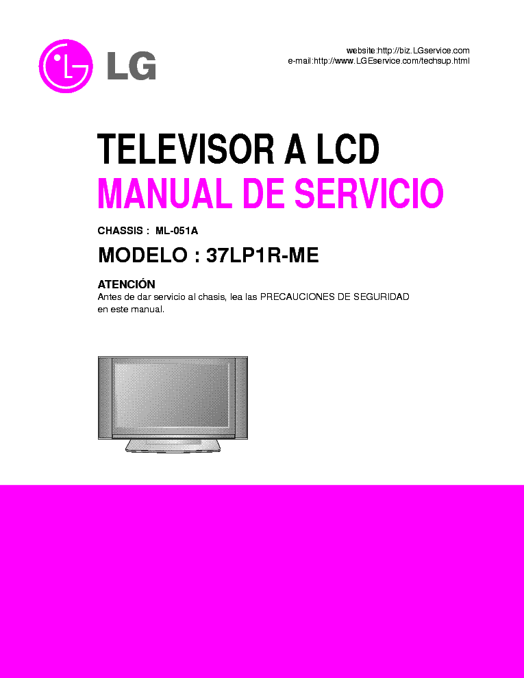 LG 37LP1R-ME CHASSIS ML051A SM service manual