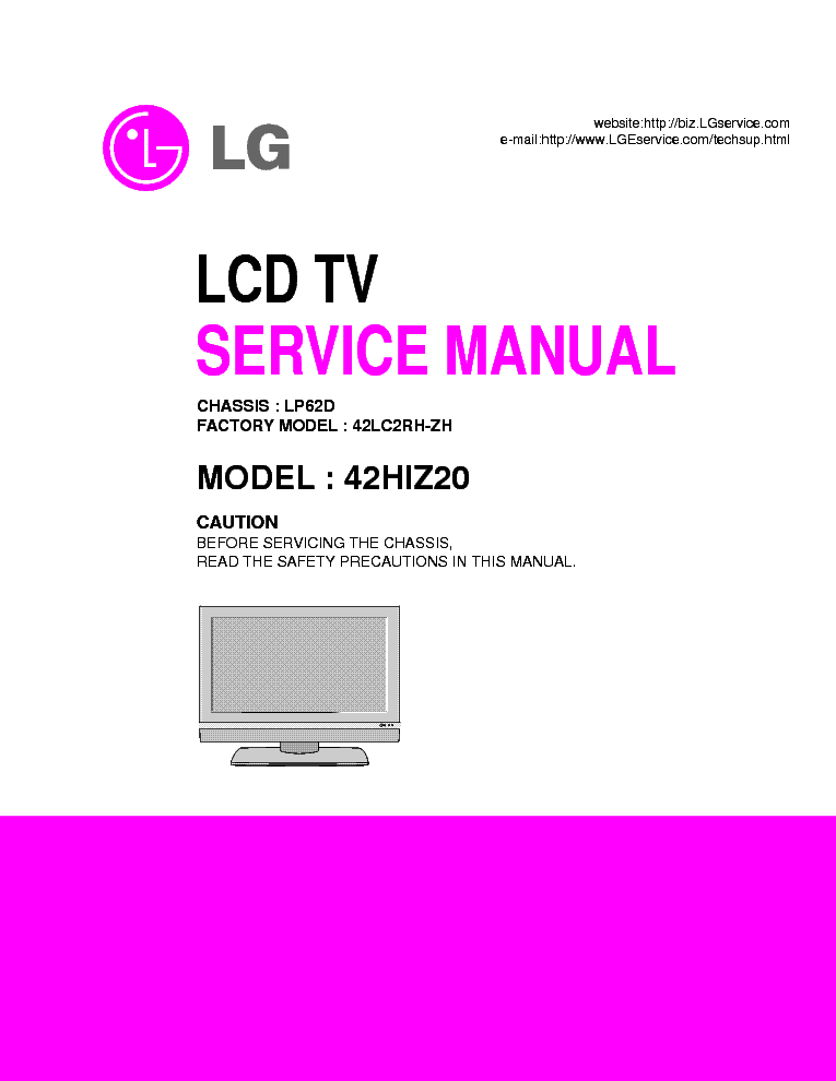 LG 42HIZ20 CHASSIS LP62D SM service manual (1st page)