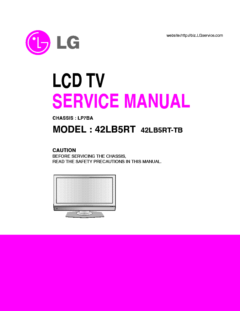 LG 42LB5RT CHASSIS LP7BA service manual