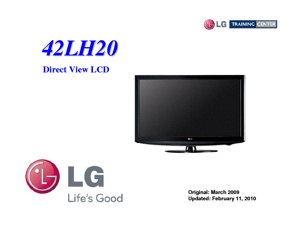 LG 42LH20 TRAINING MANUAL service manual (1st page)