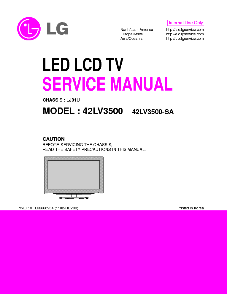 lg 42lv3500 sa chassis lj01u service manual download