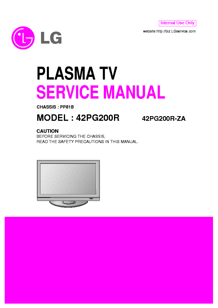 LG 42PG200R service manual (1st page)