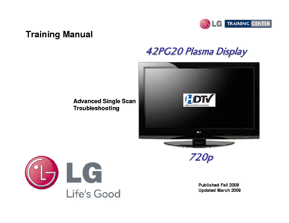 LG 42PG20 TRAINING MANUAL service manual