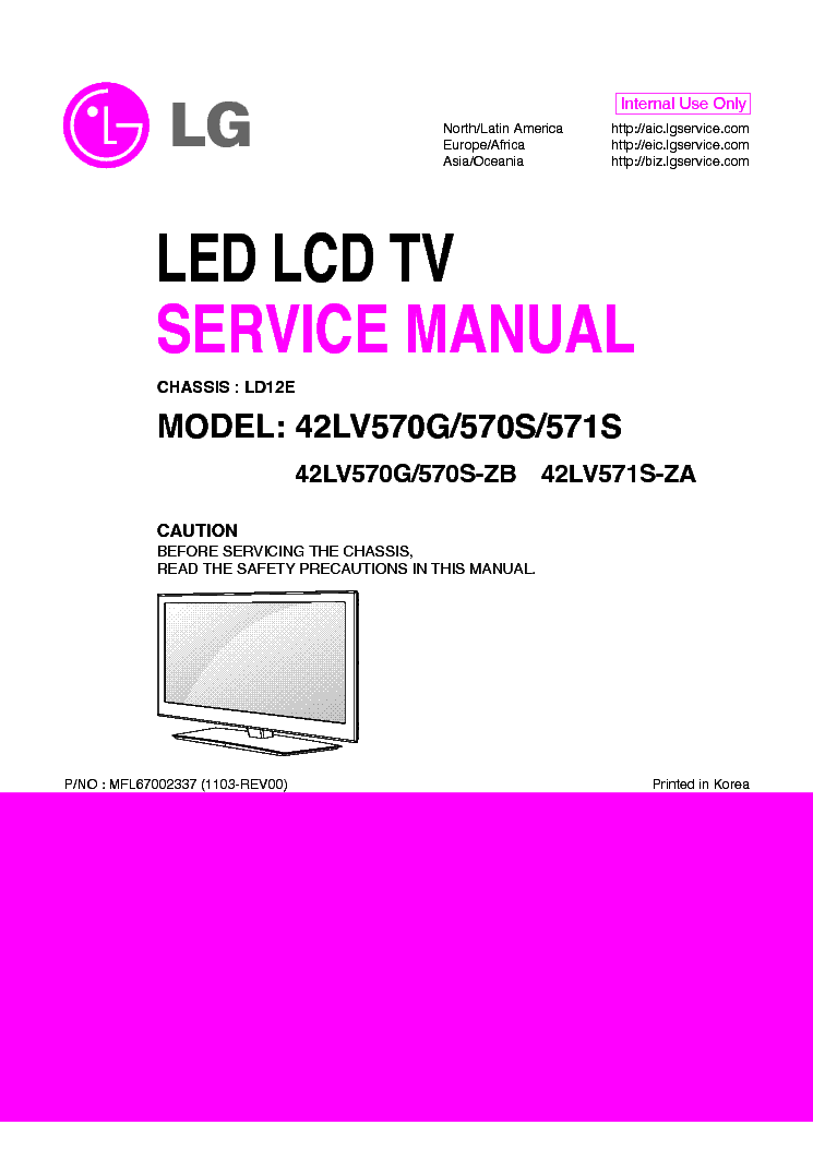 LG 47LV570G-S-ZB 42LV571S-ZA CHASSIS LD12E service manual (1st page)