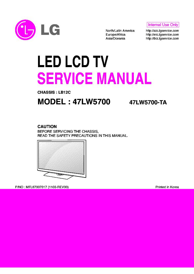 lg 47lw5700 ta chassis lb12c mfl67007017 1103 rev00 service manual rh elektrotanya com LG TV Box LG 42 Plasma TV Problems