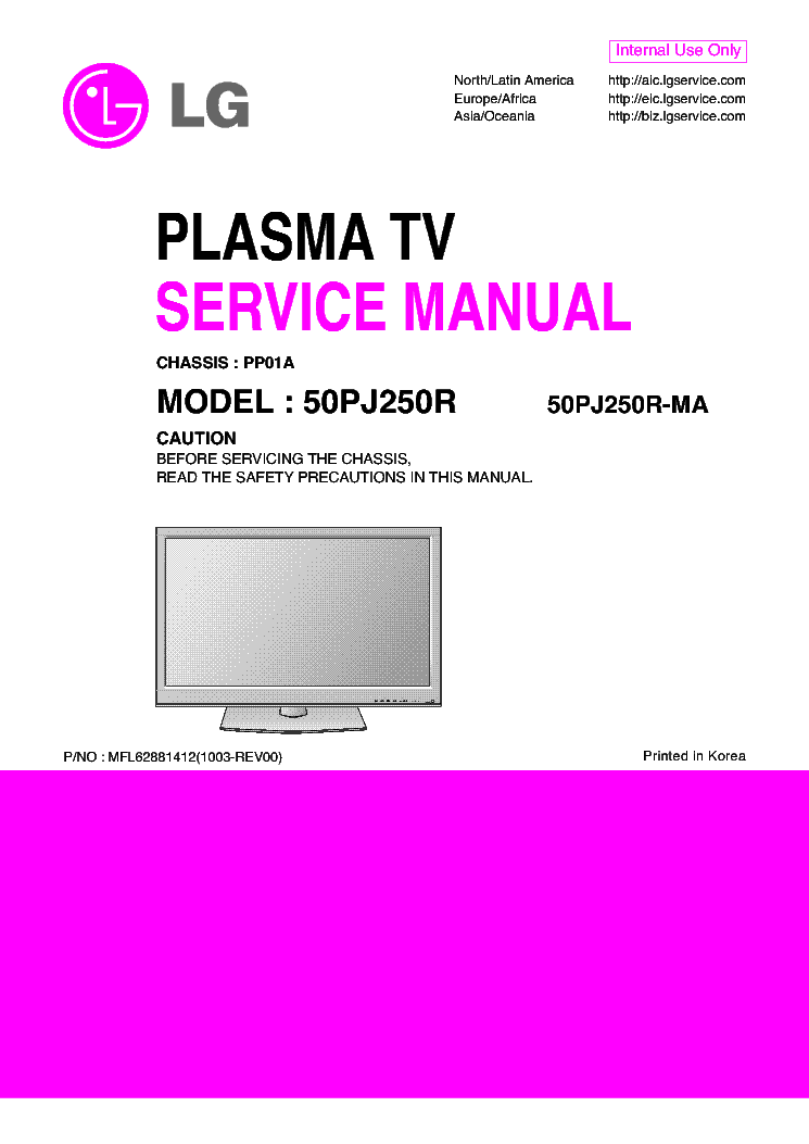 LG 50PJ250R-MA CHASSIS PP01A service manual