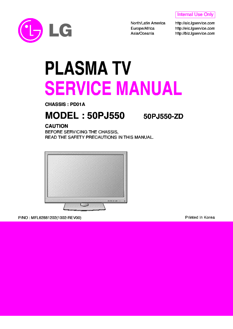 LG 50PJ550-ZD CHASSIS PD01A service manual