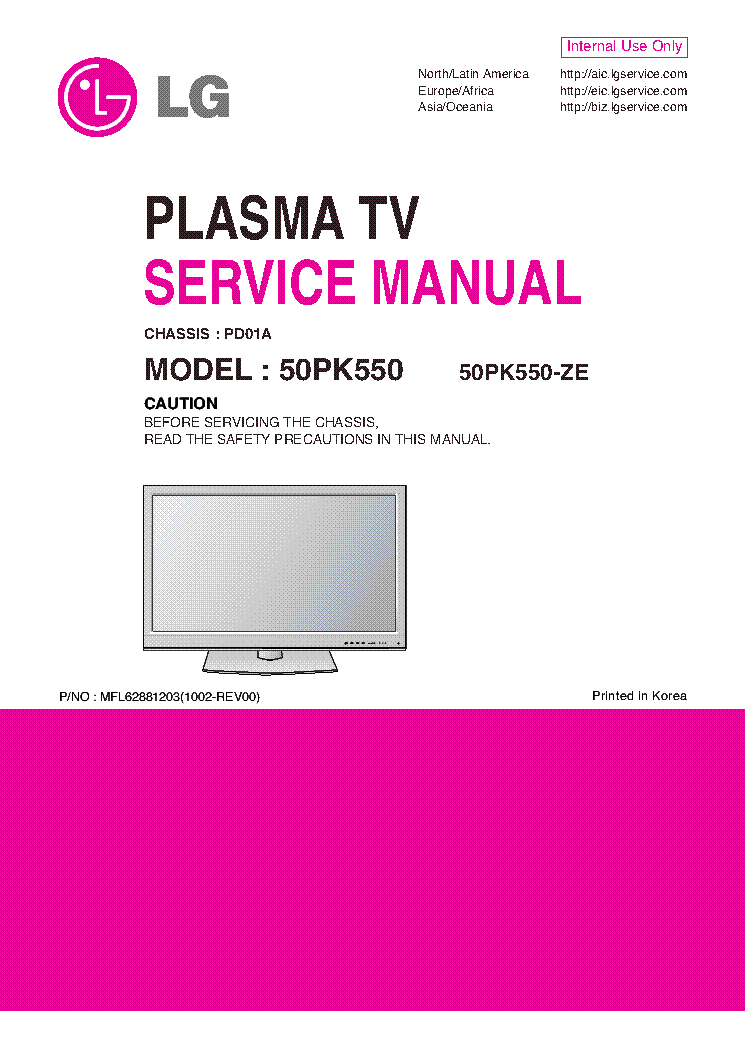 LG 50PK550-ZE CHASSIS PD01A 1002-REV00 service manual (1st page)