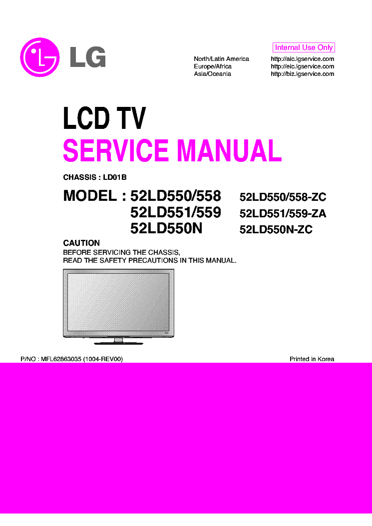 LG 52LD550-ZC 52LD550N-ZC 52LD551-ZA 52LD558-ZC 52LD559-ZA CHASSIS LD01B service manual (1st page)