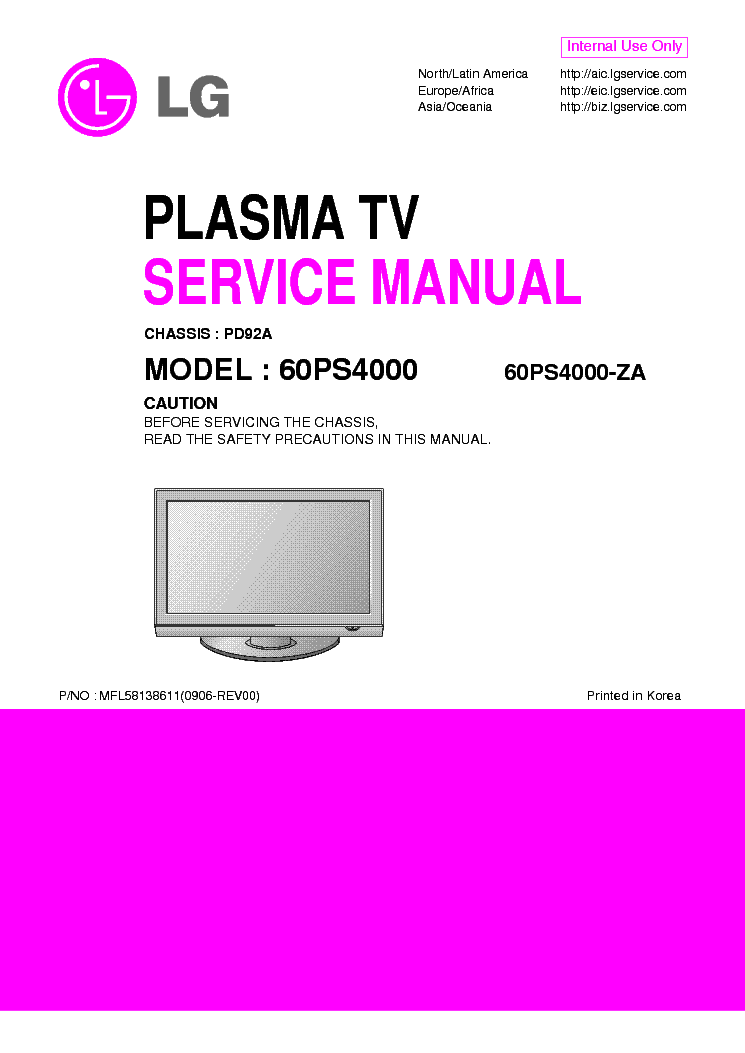 LG 60PS4000-ZA-CHASSIS PD92A service manual (1st page)