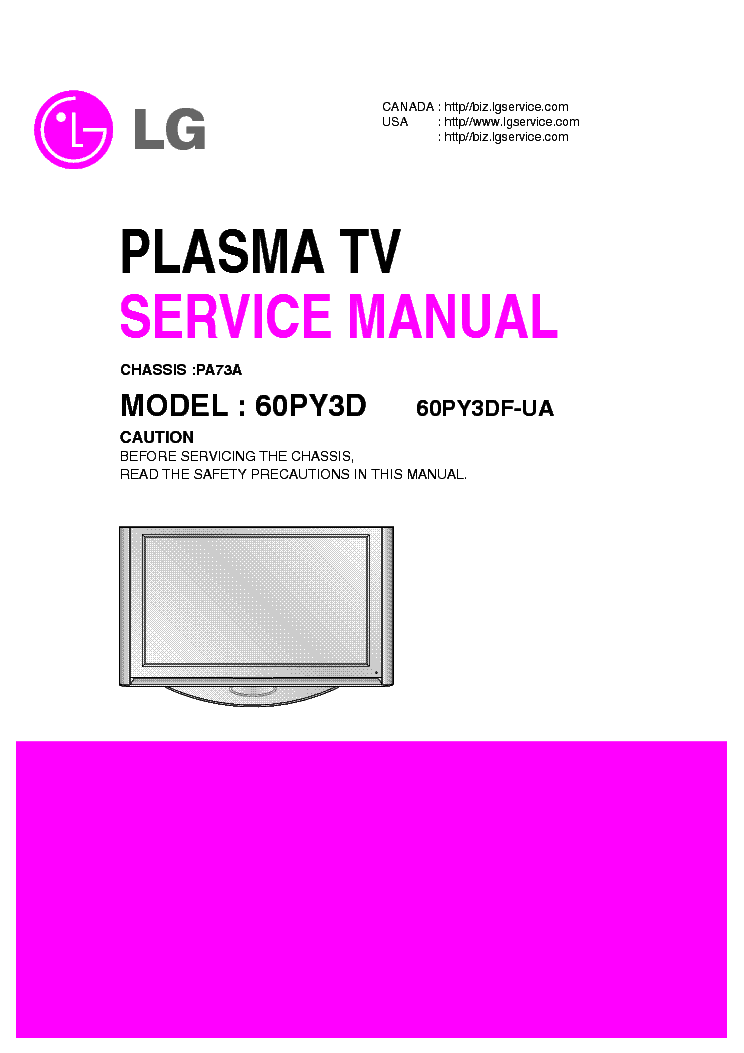 LG 60PY3D CHASSIS PA73A SM service manual (1st page)