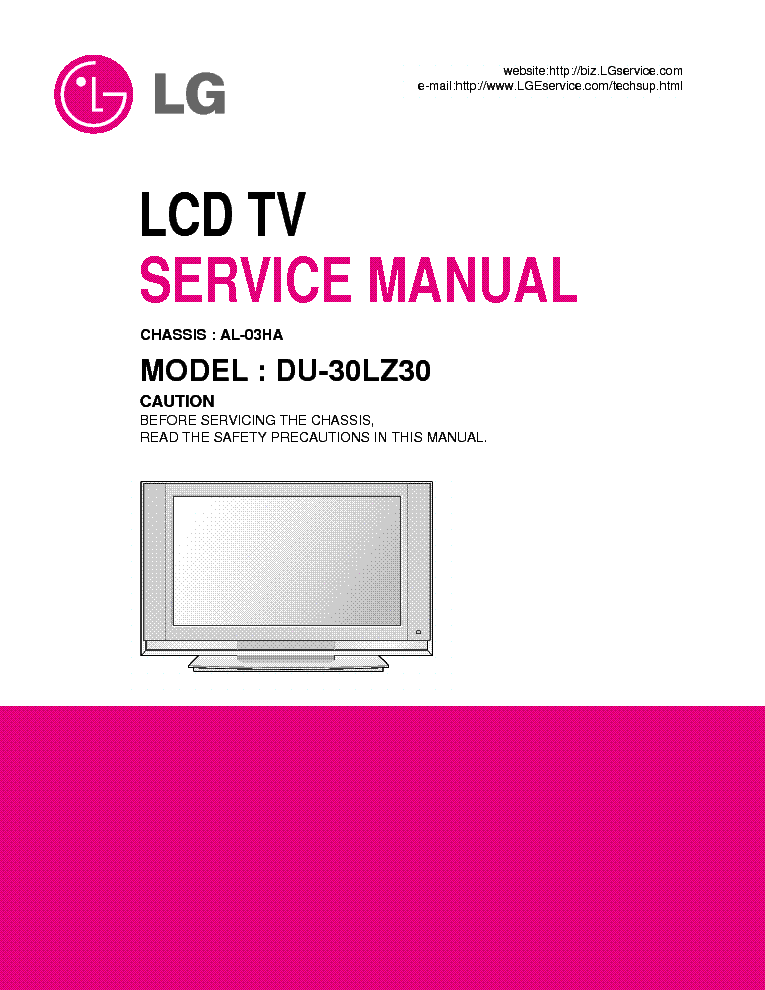 Lg Al03ha Chassis Du30lz30 Lcd Tv Service Manual Free