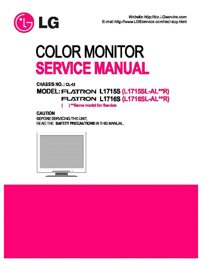 lg flatron l1715s 1716s ch cl 43 sm service manual. Black Bedroom Furniture Sets. Home Design Ideas