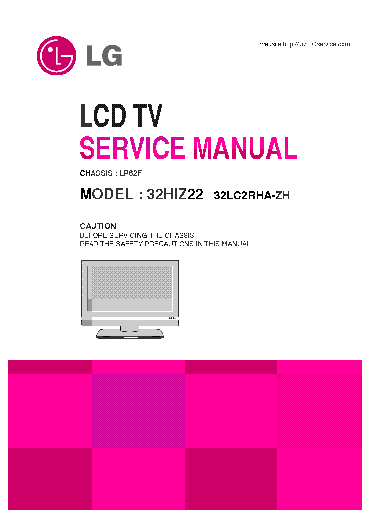 Lg Lp62f Chassis 32hiz22 32lc2rha Lcd Tv Sm Service Manual