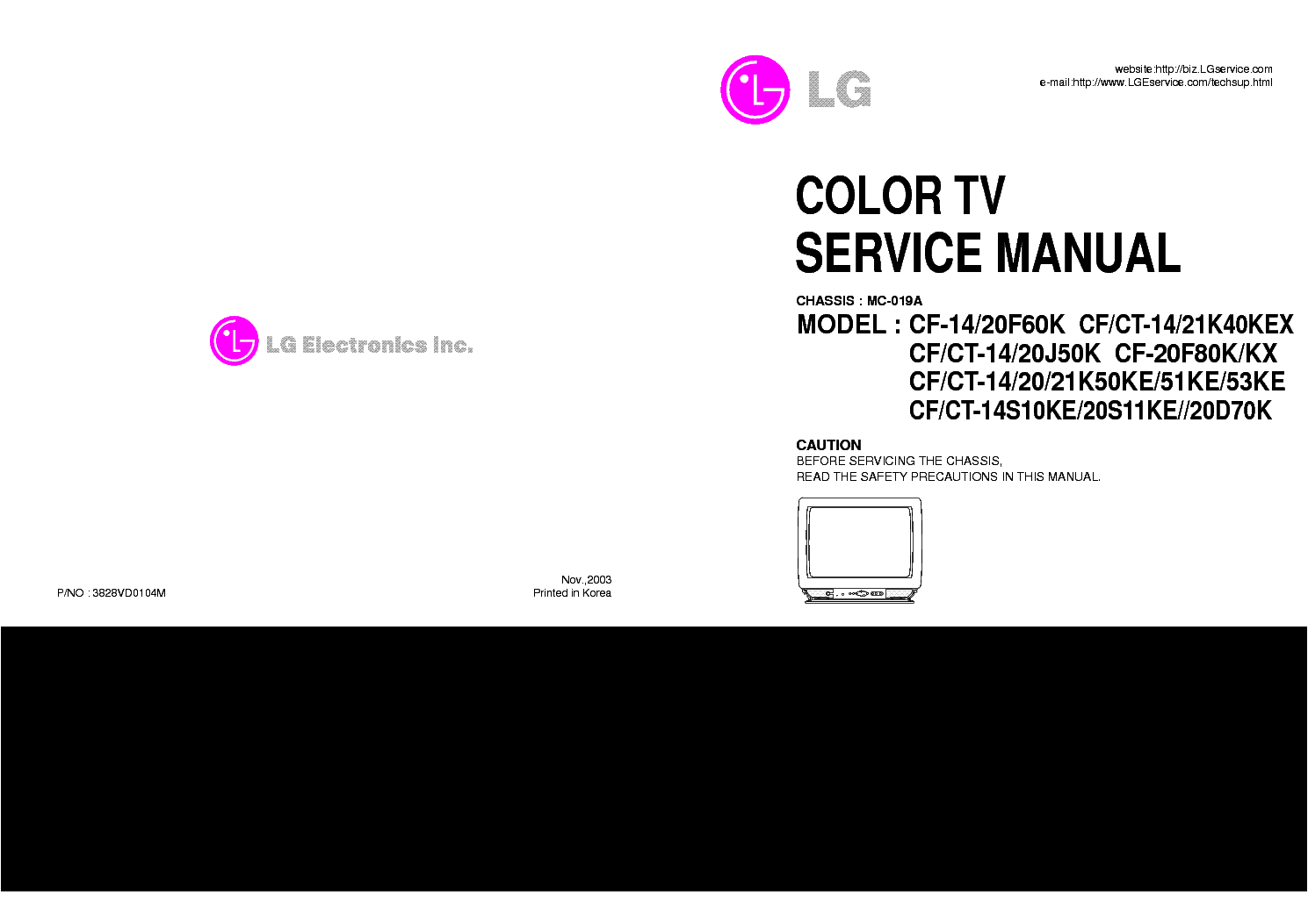 LG MC-019A-CHASSIS-SERVICE-MANUAL service manual (1st page)