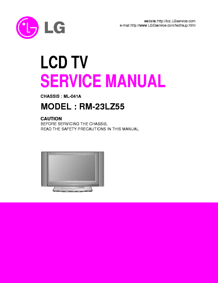 LG ML041A CHASSIS RM-23LZ55 LCD TV SM service manual