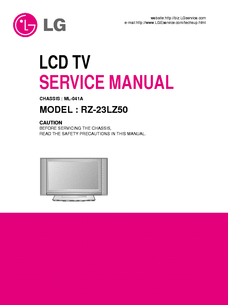 LG ML041A CHASSIS RZ23LZ50 LCD TV SM service manual (1st page)