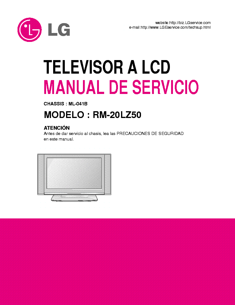 LG ML041B CHASSIS RM20LZ50 LCD TV SM service manual