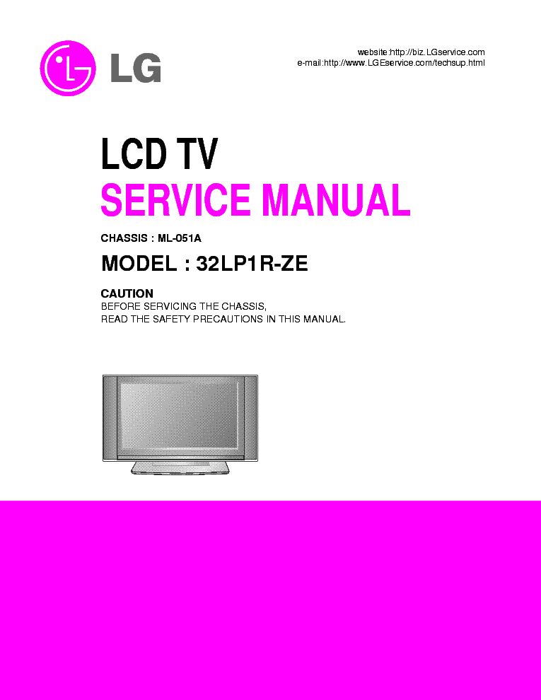 LG ML051A CHASSIS 32LP1R-ZE LCD SM service manual