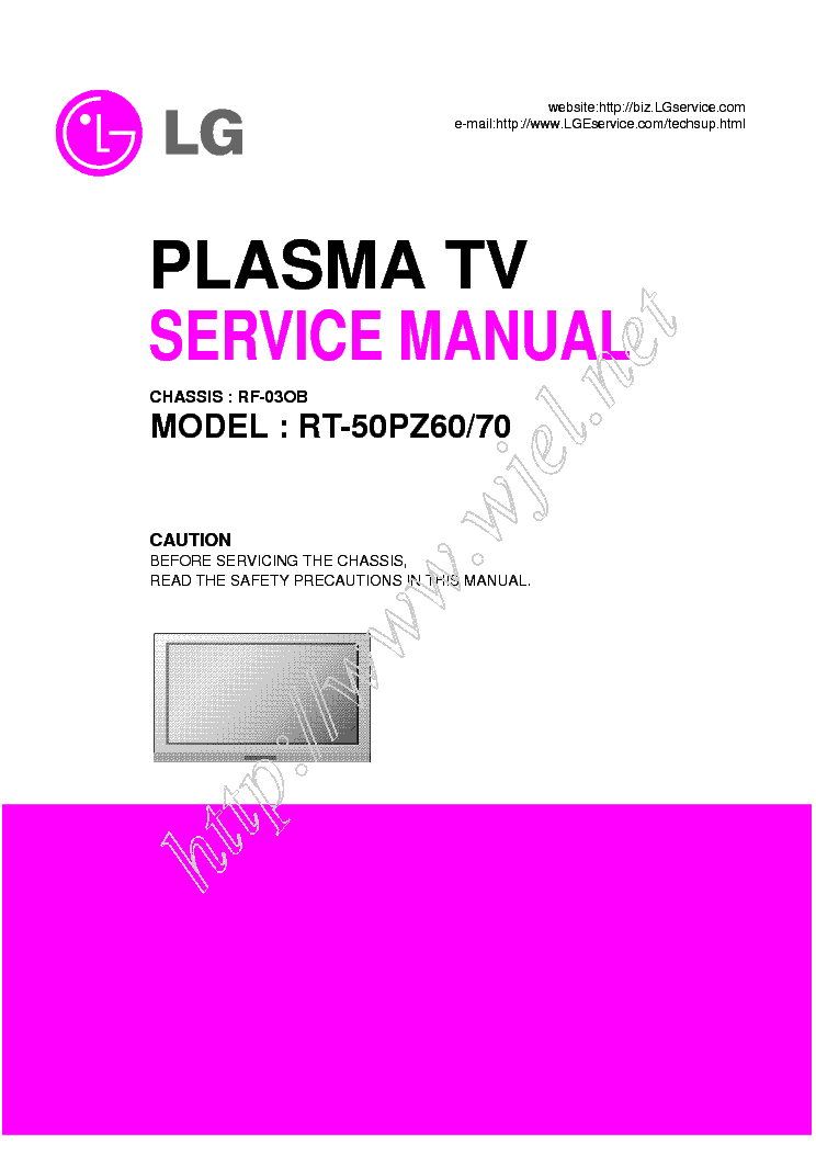 LG PDP RT-50PZ60-70-RF-03OB CHASSIS SM service manual (1st page)
