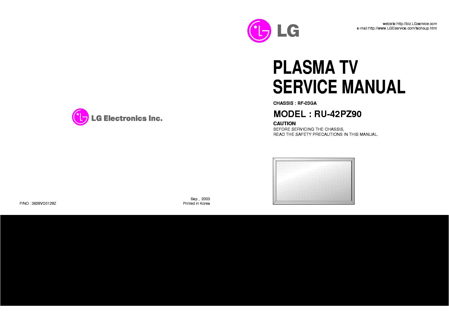 Lg 27ma53d Pz Service Manual And Repair Guide Auto Electrical Samsung Seb 1005r Wiring Diagram Rf03ga Chassis Ru42pz90 Plasmatv