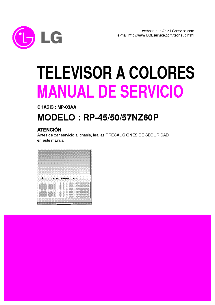 LG RP-45NZ60P 50NZ60P 57NZ60P CHASSIS MP-03AA SM service manual