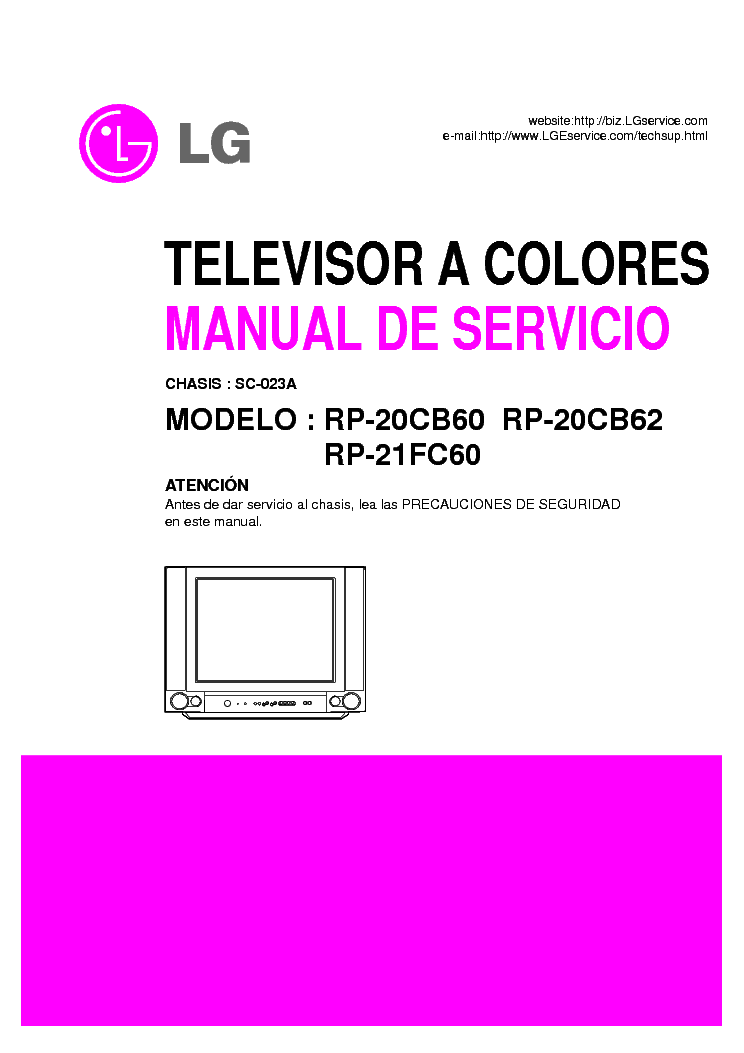 LG RP 20CB60 62 RP21FC60 CHASSIS SC 023A service manual (1st page)