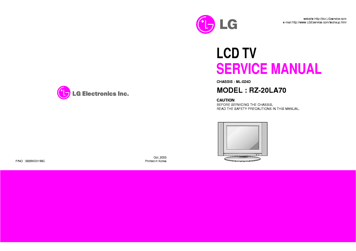 LG RZ-20LA70 CHASSIS ML-024D service manual