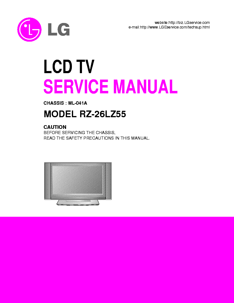 LG RZ-26LZ55-ML041-A service manual