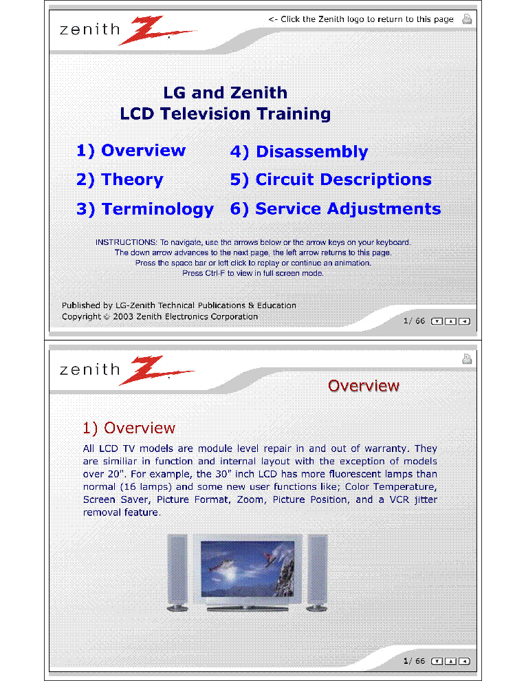 LG ZENITH LCD TV TRAINING MANUAL Service Manual download, schematics