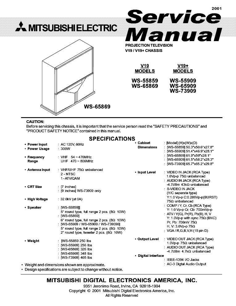 mitsubishi chassis v19x ws 55859 55909 65869 65909 73909 service rh elektrotanya com Mitsubishi TV Mitsubishi TV