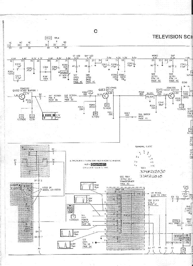 mitsubishi cs-26ex1 sch service manual (1st page)