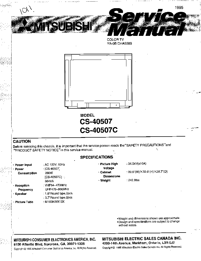 mitsubishi cs 40507 cs 40507c chassis ya 0b service manual download rh elektrotanya com Mitsubishi Eclipse Spyder Mitsubishi Montero Engine Manual