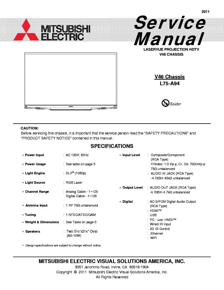 mitsubishi l75 a94 chassis v46 service manual download schematics rh elektrotanya com Mitsubishi Montero Engine Manual 1997 Mitsubishi Montero Sport Manual